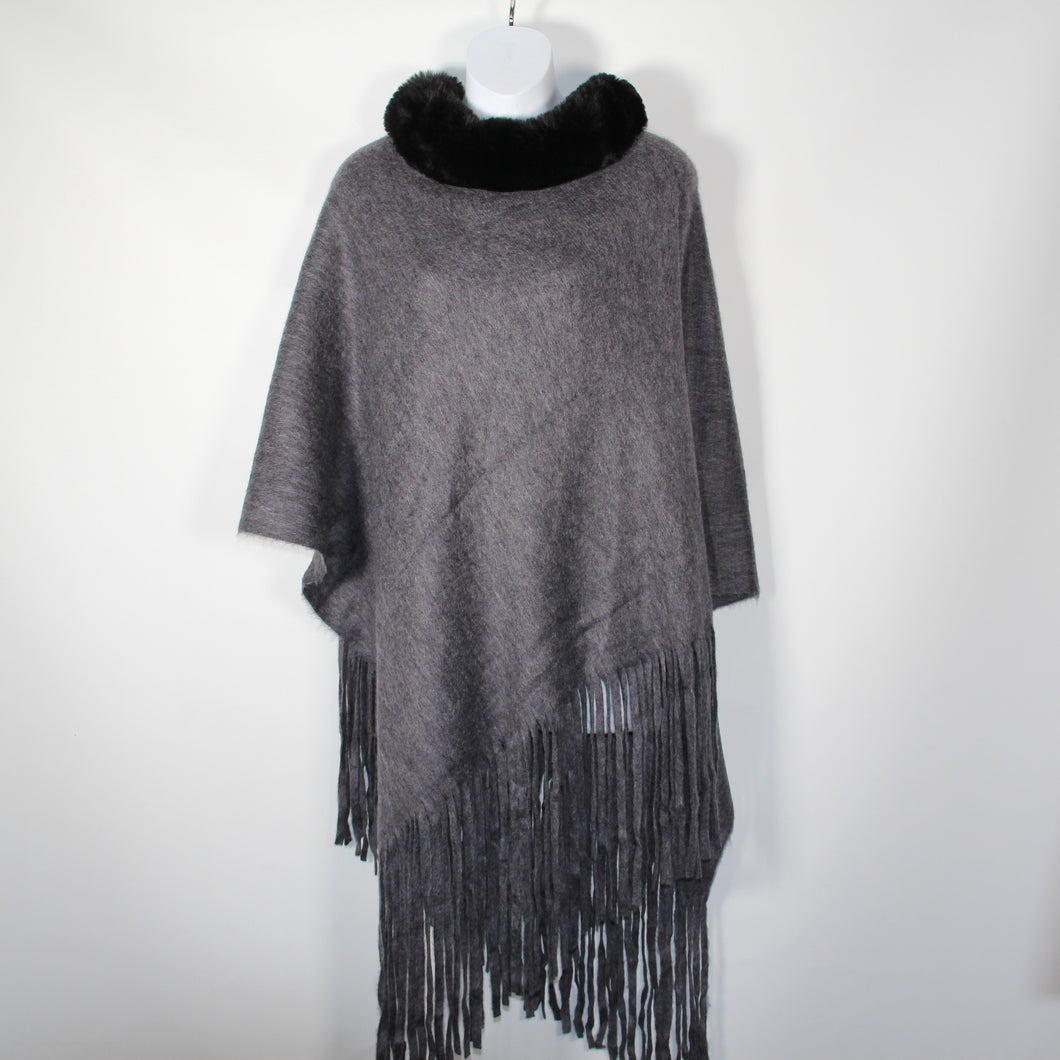 Poncho- Faux Fur Top  -Grey - Silk Route