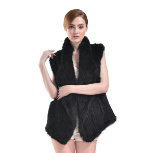 Vest - Rabbit Fur Long - Black