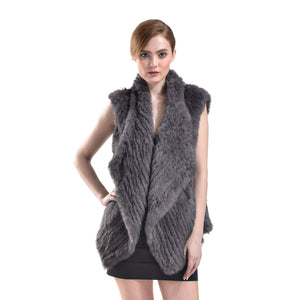 Vest - Rabbit Fur Long - Charcoal