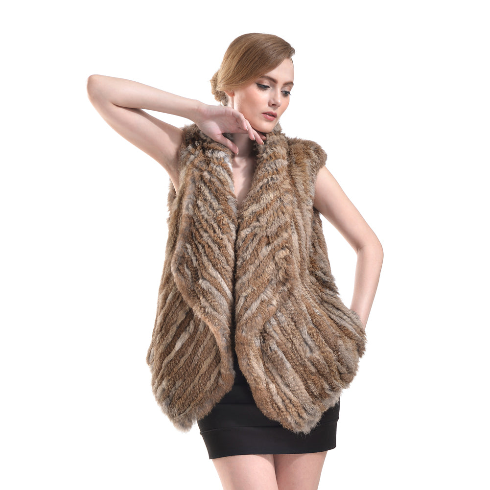 Vest - Rabbit Fur Long - Natural Brown
