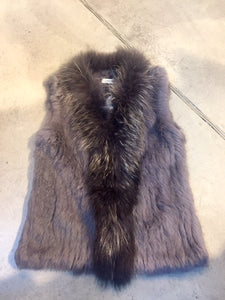 Rabbit Fur vest  -with Raccoon Front  - Charcoal