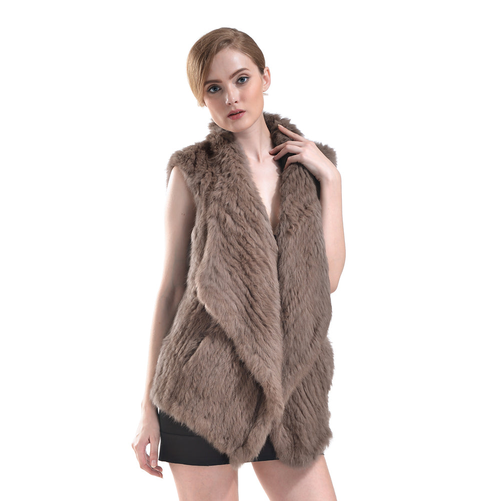 Vest - Rabbit Fur Long - Soft  Brown