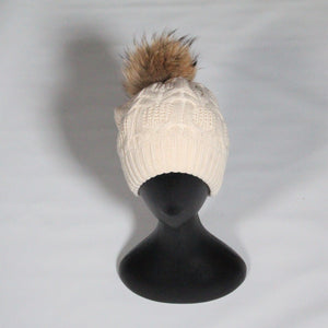 Beanie- Soft Wool Blend Cable knit-Removable Pom Pom- Beige