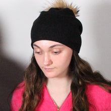 Load image into Gallery viewer, Beanie- Wool Blend- Fur Pom Pom- Slouch- Black
