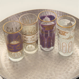 Set 6 - Pale Purple  Gold - Tall Tea Glass - Moroccan - Feather Design