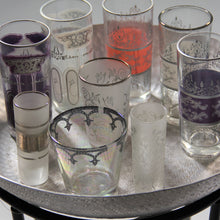 Load image into Gallery viewer, Set 6 - Tall Pale Purple Silver -  Painted Moroccan Glass - Feather Design