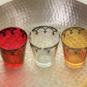Medieval Votive Tumbler Glass - Set of 6 (Exotic Red Lustre with Pewter Border)