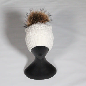 Beanie- Soft Wool Blend Cable knit-Removable Pom Pom-White