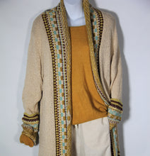 Load image into Gallery viewer, Cardigan Long Knitted wool with Long Sleeve Tassel Mustard
