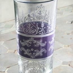 Moroccan Tall Tea Glass - Pale Purple Silver set of 6 Tunise