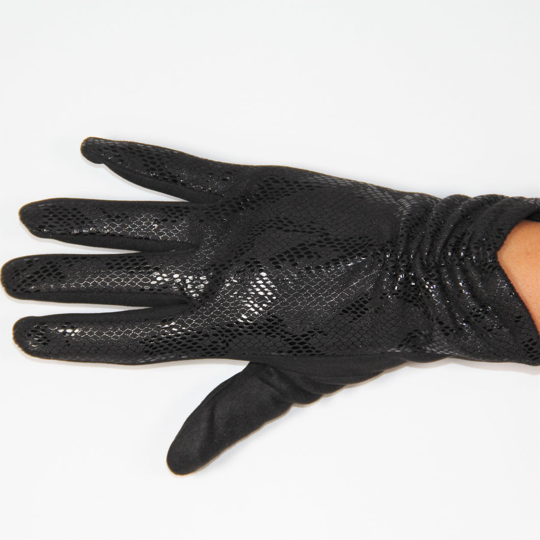 Glove Faux Suede Leather Snake Skin Black