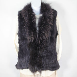Rabbit Fur Vest -with Raccoon Front  - Navy