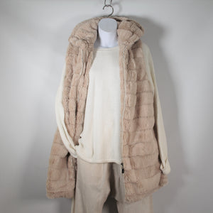 Vest-Faux Fur Long With Hood - Beige