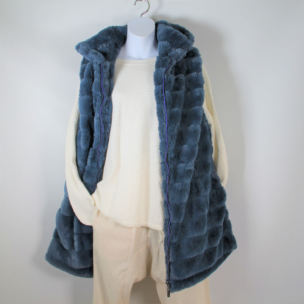 Vest-Faux Fur Long With Hood - Teal Blue