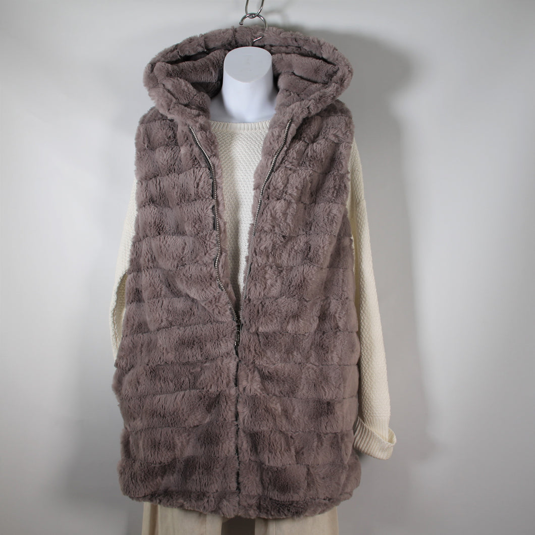 Vest-Faux Fur Long With Hood - Light Grey