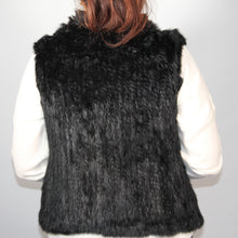 Load image into Gallery viewer, Vest Rabbit Fur -with Collar - Black