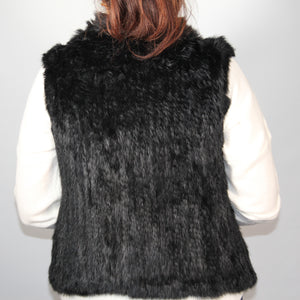 Vest Rabbit Fur -with Collar - Black