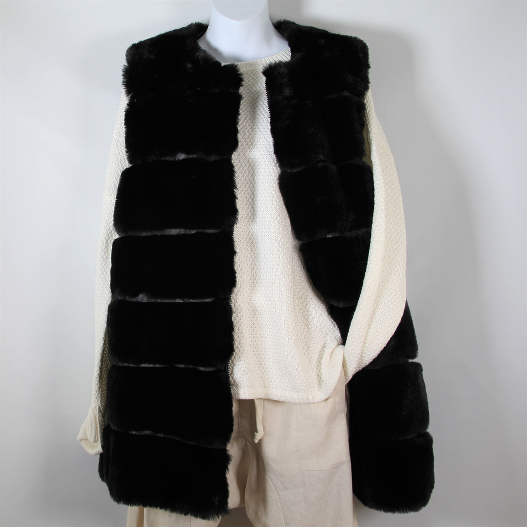 Vest-Faux Fur Long - Black