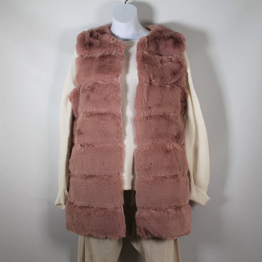 Vest-Faux Fur Long - Soft Pink