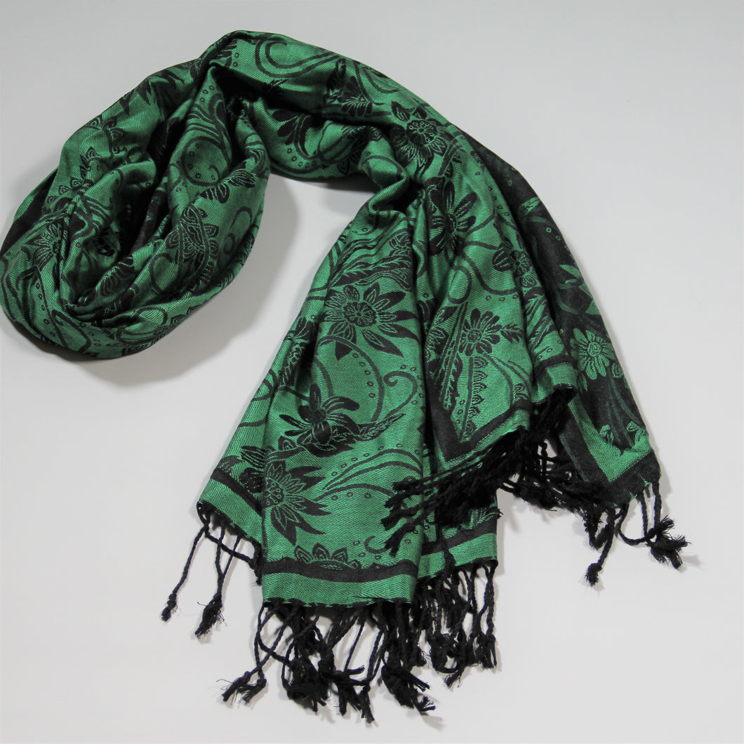 Scarf Pashmina - Green Flower