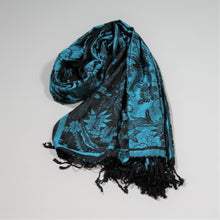 Load image into Gallery viewer, Scarf Pashmina - Turquoise Flower
