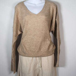 Jumper- Knit Wool V Neck - Camel