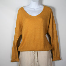 Load image into Gallery viewer, Jumper- Knit Wool V Neck - Mustard