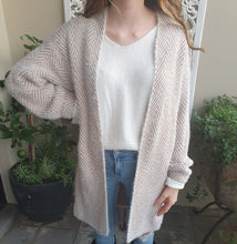 Load image into Gallery viewer, Cardigan Long Sleeve Knit wool Blend Zigzag Pattern Beige