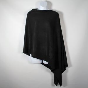 Poncho- Pull Over  -Black- Silk Route