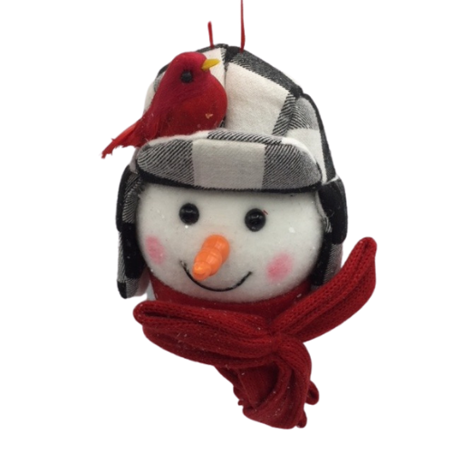 Snowman Ornament with Cardinal