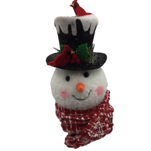 Snowman Ornament with Cardinals and Top Hat