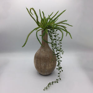 Floral Arrangement in Wooden Vase