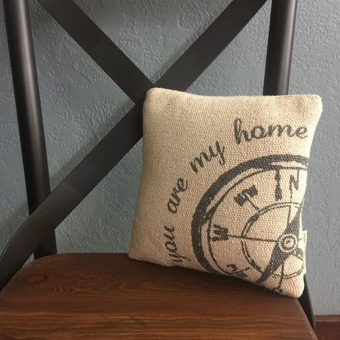 "Compass & Map Pillow ""You are my home"""