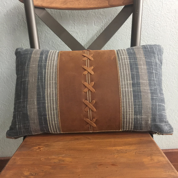 Leather Oblong Accent Pillow