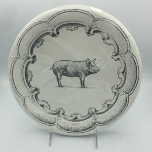 Black & White Pig Pattern Dinner Plate