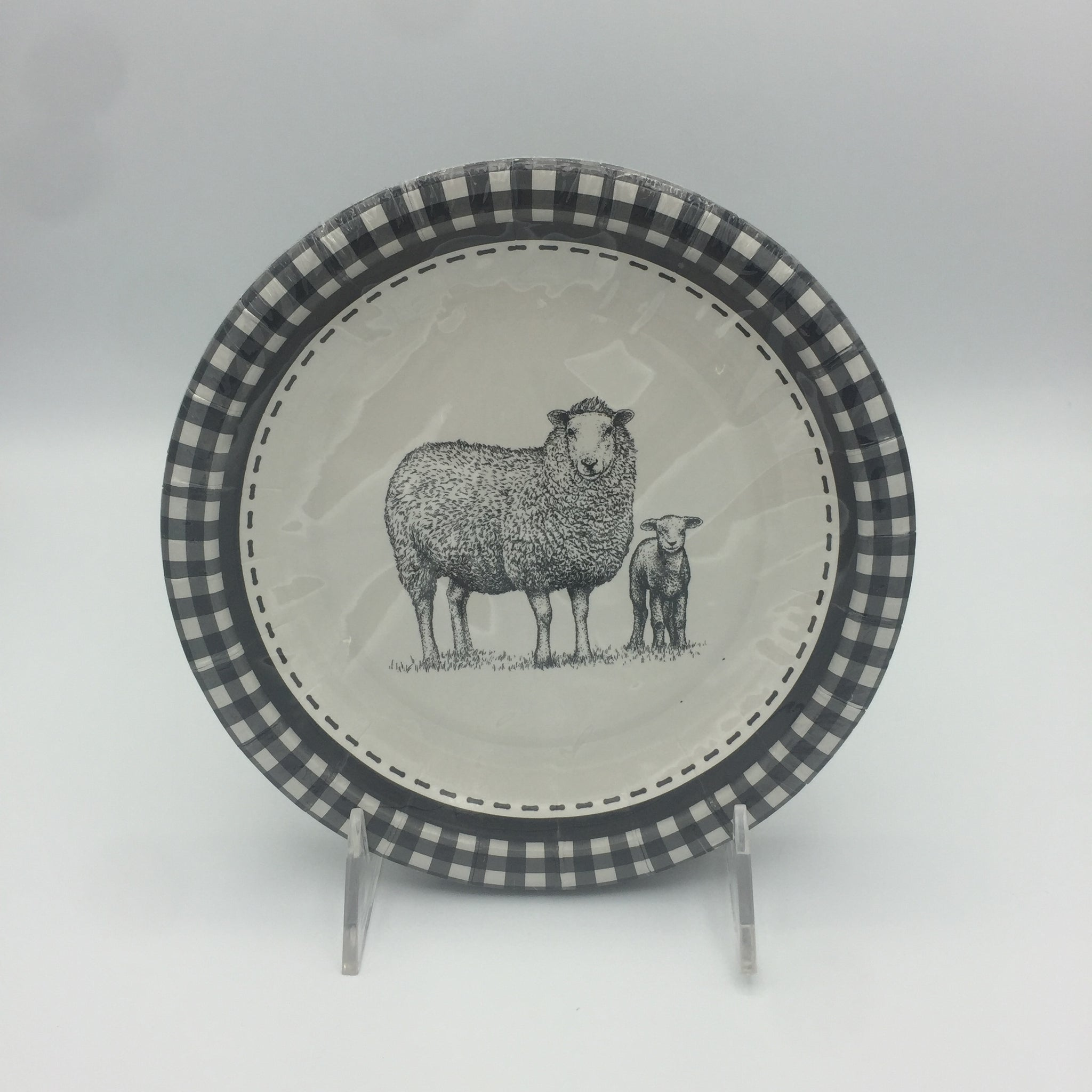 Black & White Sheep Pattern Dessert/Salad Plate