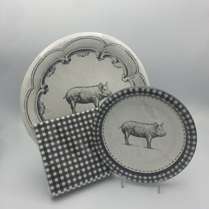 Black and White Pig Pattern Plate Set