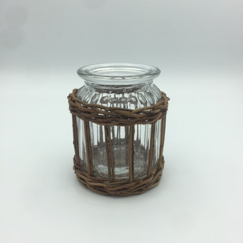 Glass Vase with Wood Accent