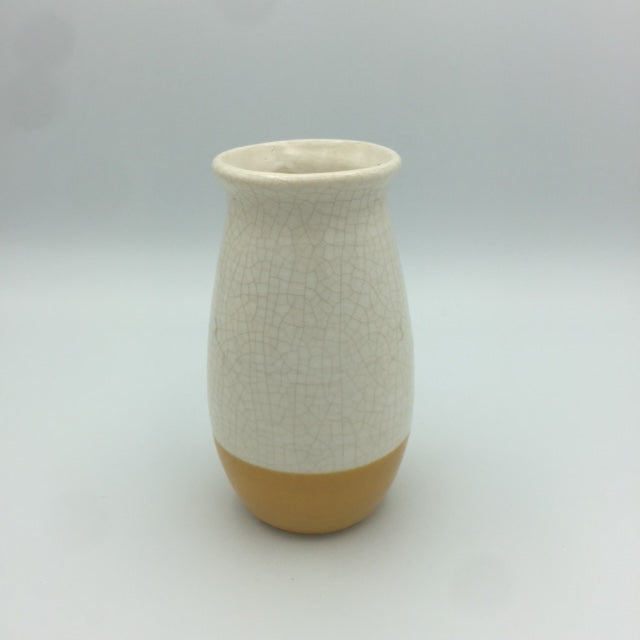 White & Yellow Crackle Vase