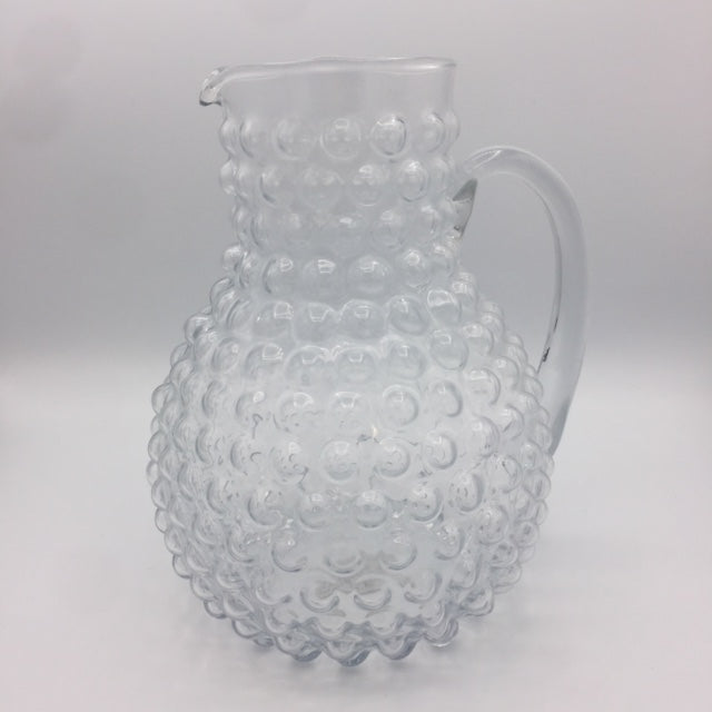 Clear Glass Pitcher with Beaded Texture