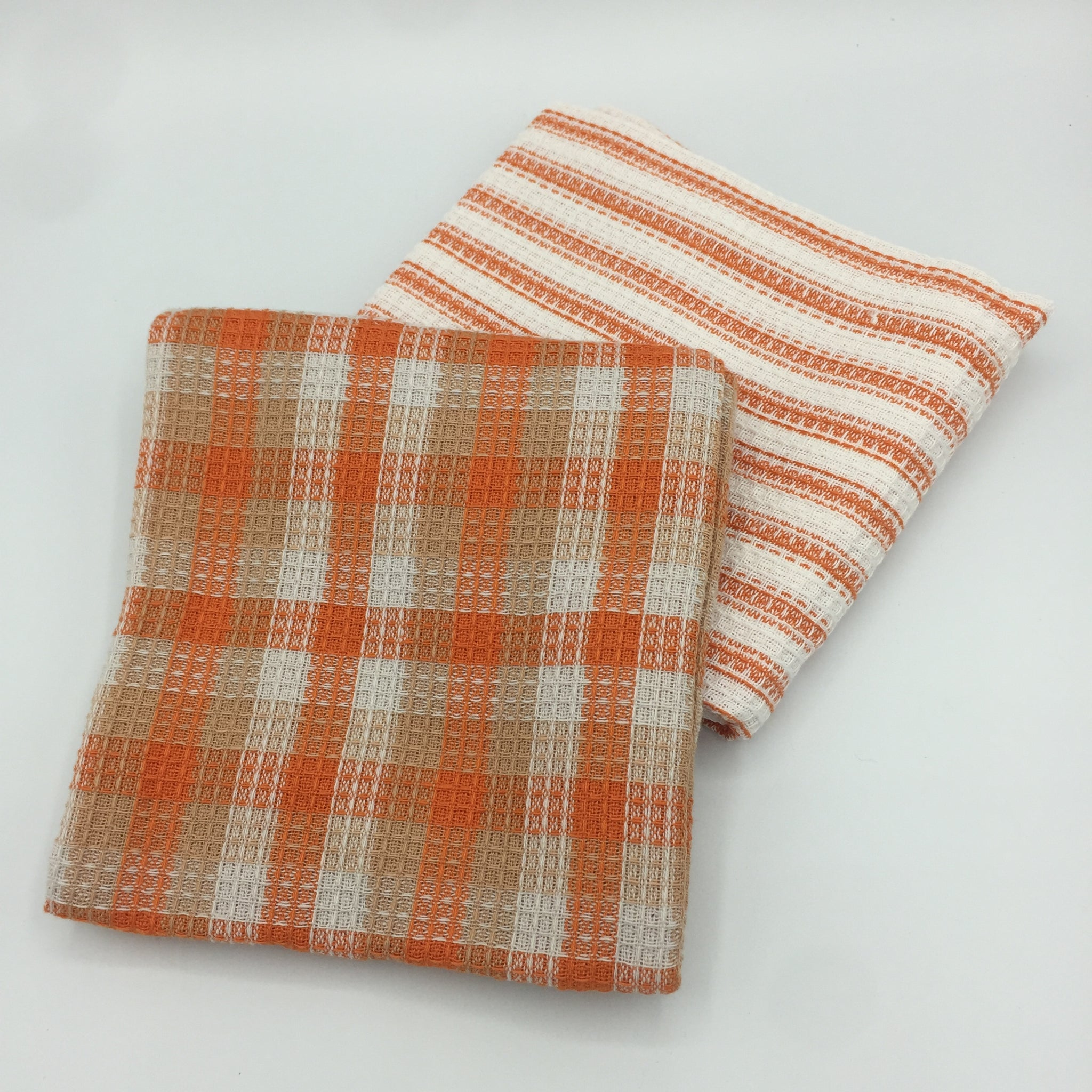 Set of 2: Orange Stripe Kitchen Towels