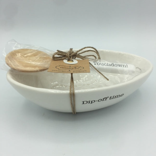 "Football Shaped Dip Bowl and Spoon Set ""Dip-off time"""