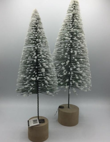 Snow-Tipped Tree with Wooden Base