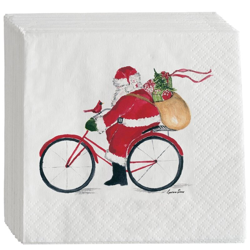 Santa on Bike Cocktail Napkins