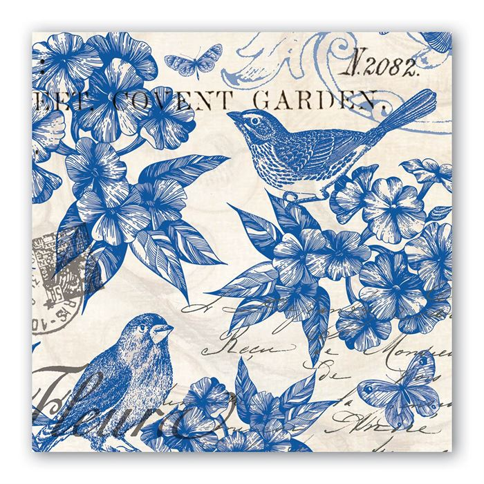 "20 Paper Luncheon Napkins ""Indigo Cotton"""