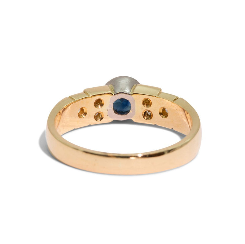 Reverse side Sapphire and Diamond Ring