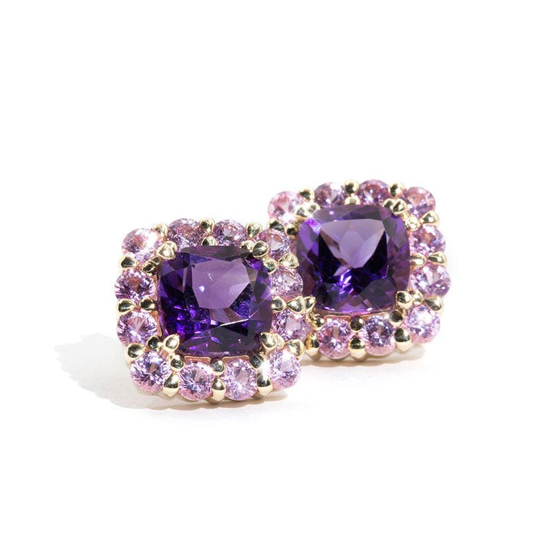 Amethyst-Pink-Sapphire-Stud-Earrings-Kimmi-IJ-0321-479 Imperial Jewellery - Auctions, Antique, Vintage & Estate