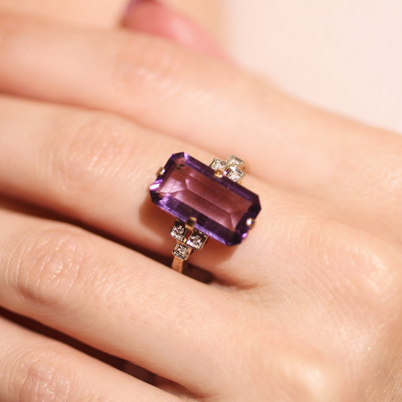 Amethyst and Diamond Ring on Hand