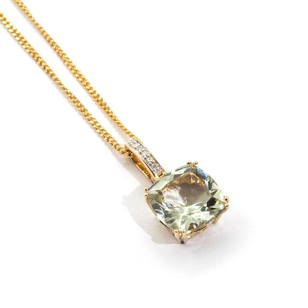 Cierra Mint Quartz & Diamond Pendant Pendants/Necklaces Imperial Jewellery - Auctions, Antique, Vintage & Estate