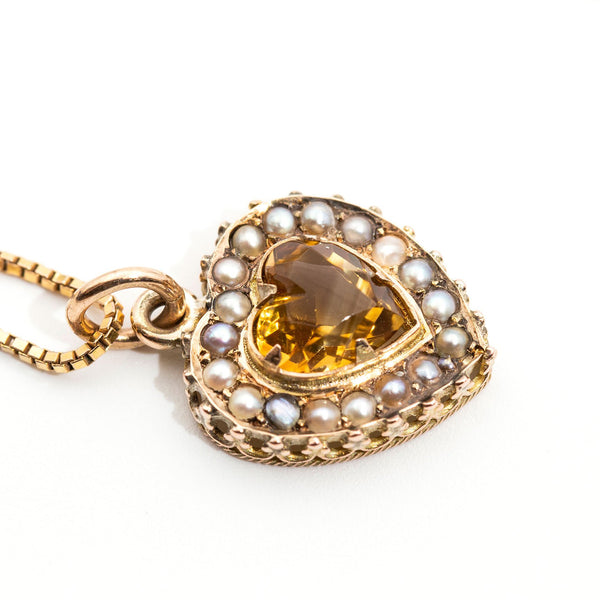 Citrine and Pearl Pendant